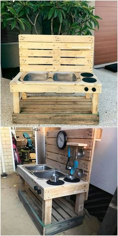 This image is making you feature with the wood pallet kitchen and sink blend whe. This image is ma Outdoor Play Kitchen, Mud Kitchen For Kids, Diy Mud Kitchen, Pallets Garden, Wood Pallets, Pallet Projects, Woodworking Projects, Pallet Designs, Craftsman Kitchen