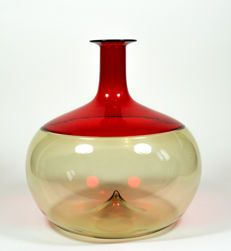 Tapio Wirkkala (Venini) - straw yellow/red Bolle vase Finland, Carpets, Vases, Glass Vase, Future, My Favorite Things, Design, Yellow, Red