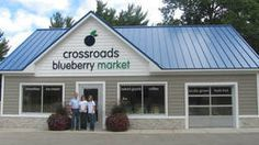 Crossroads Blueberry Farm, owned by Dave and Kelley Reenders has been in business farming blueberries since 2000. Just recently they have decided to open a retail blueberry market selling fresh, locally grown fruit as well as baked goods, jams, jellies, sauces and honey. The market features real fruit smoothies and Hudsonville ice cream.