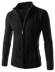 Twist Knitted Good Thermal Turtle Neck Zip Up Long Sleeve Cardigan Jacket