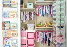 This is the baby closet organization of my dreams! I love that all the storage solutions keep working through the toddler years and onto school.