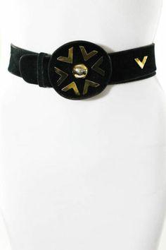 Vintage Valentino Black Suede Gold Tone Hardware Circle Notch Belt Sz M | eBay