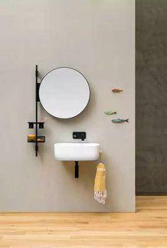 Bathroom wall shelf PROP by EVER by Thermomat Saniline design Monica Graffeo Bathroom Wall Shelves, Wall Shelves Design, Bathroom Wall Decor, Bathroom Furniture, Bathroom Interior, Bathroom Ideas, Bathroom Mirrors, Small Wall Shelf, Shiplap Bathroom