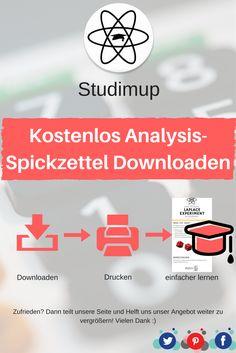 Bei uns könnt ihr kostenlos Analysis Spickzettel zum lernen Downloaden, mit denen ihr dann lernen könnt. Mathe lernen leicht gemacht.