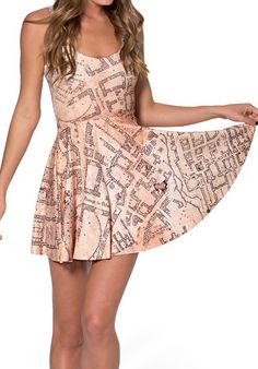2016 Fashion Pleated Decorative Pattern New Women Marauders Map Reversible Skater Dress Summer Plus Size Free Shipping BL 450-in Dresses from Women's Clothing & Accessories on Aliexpress.com | Alibaba Group