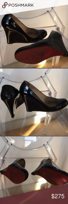 Authentic Christian Louboutin Ron Ron wedge 38 Used. Still a lot of life left. These soles and heel taps have been replaced. Very comfortable patent leather. Christian Louboutin Shoes Wedges