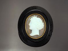 Cameo Brooch, Jet Shell Cameo Pin with Gold Mount Victorian c1850
