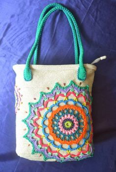 "Crochet bag ""Odessa - Pearl of the Sea"". Women's handbag with colored applique decoration and beads."