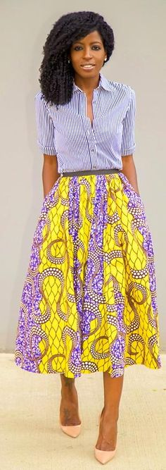 Striped Shirt + African Print Midi Skirt  http://stylepantry.com/2013/11/27/striped-shirt-african-print-midi-skirt/