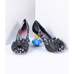 Irregular Choice Black Wonderland This Way Alice Heels Shoes ($169) ❤ liked on Polyvore featuring shoes, pumps, black, black glitter pumps, gold glitter pumps, black sparkly shoes, irregular choice shoes and bow pumps