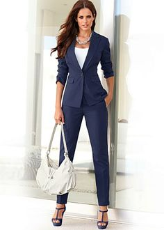 Camel pant suit with collarless blazer | Interview, Blazers and ...
