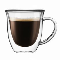 JoyJolt Serene Double Wall Insulated Glass 7.4-ounce Double Walled Coffee and Tea Mugs With Handle (Set of 2) (Double Wall Glasses), Clear