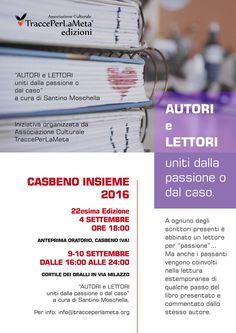 4-9-10 settembre 2016 Autori e Lettori uniti dalla passione o dal caso, Casbeno Insieme, 22esima Edizione, Varese