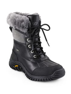 Ugg Australia Adirondack II Lace-Up Shearling & Leather Boots - Black Grey 5.5