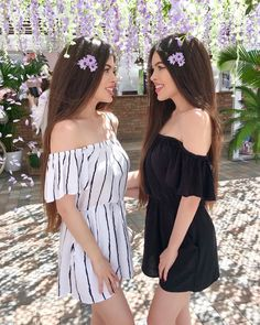 🌸Flower Power 🌸 Comment 'Flower' in your language 🌸 Tag your BFF 👯✨ •Anzeige Fall Fashion Outfits, Girl Fashion, Fashion Dresses, Twin Outfits, Cute Outfits, Autumn Fashion Grunge, Best Friend Outfits, Short Dresses, Prom Dresses