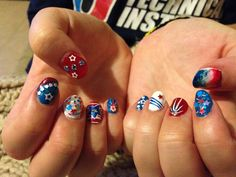 4th of July nails I did on a friend. 2014 Alissa Maletic.