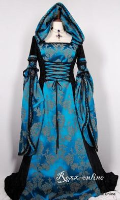 I found 'Black velvet teal damask medieval dress with draped sleeves hood' on Wish, check it out!