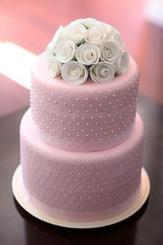 Simple pink wedding cake, by Pink Diamond Artistry