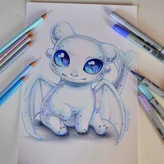 Lightfury Baby Dragon by Lisa Saukel Cute Disney Drawings, Cute Animal Drawings, Kawaii Drawings, Cool Drawings, Drawing Animals, Disney Character Drawings, Drawing Disney, Fantasy Drawings, Cute Dragons