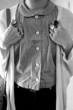 Chic Style - cropped shirt with peter pan collar + slouchy cardigan
