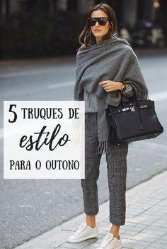 Truques de estilo no outono 5 truques de estilo para usar no outono! Look de outono, look inverno. Look inverno brasileiro. Style Outfits, Mode Outfits, Winter Outfits, Casual Outfits, Fashion Outfits, Look Casual Chic, Work Casual, Casual Looks, Over 50 Womens Fashion
