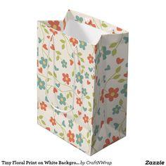 Tiny Floral Print on White Background Red & Aqua Medium Gift Bag