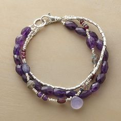"""PAINTER'S PALETTE BRACELET -- Gems drawn from the red-to-blue spectrum of a painter's palette blend beautifully. Sterling silver with garnets, amethysts, chalcedony, iolite, labradorite and lapis. Exclusive. Handmade in USA. 7-1/2""""L."""