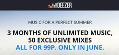 3 Months Of Unlimited Music from Deezer For 99p in June