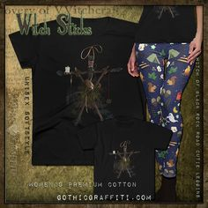 witchy forest camping leggins shirt Witch Stick, Forest Camp, Camping Outfits, Cotton Tee, Tees, Shirts, Gothic, Knitting, Fabric