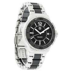 TAG HEUER WOMEN'S FORMULA ONE DIAMOND SWISS QUARTZ WATCH  - Polished-brushed Stainless Steel Case & Bracelet - w/black Ceramic Bezel & Inner Links - Black Dial - Silver Tone-luminous Hour & Minute Hands - Silver Tone Second Hand - Silver Tone Numeral & Line Hour Markers - Date Display Window at 3:00 Position - Genuine Diamonds On Bezel Women's Dress Watches, Display Window, Tag Heuer Formula, Brushed Stainless Steel, Quartz Watch, Markers, Diamonds, Hands, Ceramics