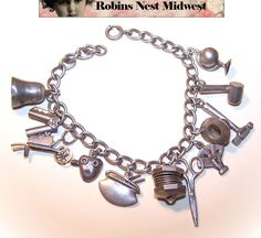 Vintage STERLING SILVER Charm Bracelet with 12 Charms!