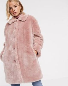 Buy ASOS DESIGN faux fur button through coat in pink at ASOS. With free delivery and return options (Ts&Cs apply), online shopping has never been so easy. Get the latest trends with ASOS now. Asos, Coats For Women, Clothes For Women, Bridal Party Dresses, Outfit Combinations, Pink Fashion, Get Dressed, New Outfits, Faux Fur