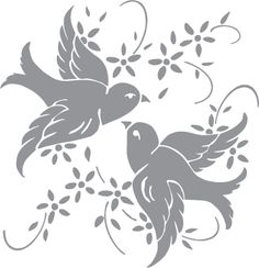 Glass etching stencil of A Pair of Birds with Flowers. In category: Birds, Birds & Flowers, Flowers, Flowers & Birds, Vines & Natural, Weddings & Anniversaries