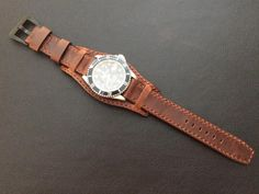 5d75e4a2216 Real leather cuff watch strap for Rolex Watches (vintage brown) - 20mm 20mm