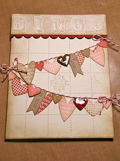 Valentine Bingo Banners by gardenmom - Cards and Paper Crafts at Splitcoaststampers Valentine Bingo, Valentine Love Cards, Cute Cards, Diy Cards, Bingo Cards, Scrapbook Cards, Scrapbook Photos, Scrapbook Supplies, Card Tags