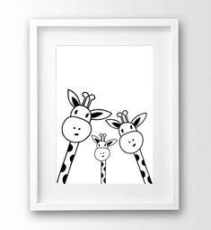 Family Giraffe Selfie Print, Nursery Printable, Black and White Art, Scandinavian Print, Arte descar Nursery Prints, Nursery Art, Giraffe Nursery, Art Blanc, Kunst Poster, Ideias Diy, White Nursery, White Art, Black White