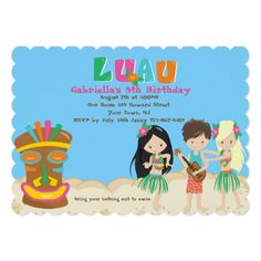 Luau Birthday Party Invitations Luau With Kids and Tiki Birthday Invitation