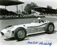Pat Flaherty finished first in the 1956 Indy 500 driving for John Zink. Flaherty was also an accomplished trainer of racing pigeons.