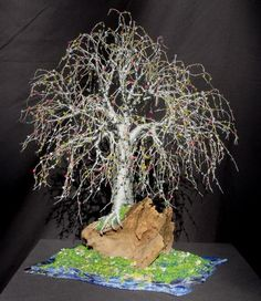 Ideas :) Bonsai Island - Beaded Wire Tree Sculpture x x 13 deep. Tree is made of 18 & 26 gauge silver colored steel wire. The branches and Wire Tree Sculpture, Sculpture Ideas, Fairy Garden Doors, Fairy Tree, Fairy Furniture, Wire Trees, Fairy Garden Accessories, Wire Crafts, Miniature Fairy Gardens