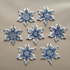 Ornament   Blue on White Snowflake  by CornishHillPottery on Etsy