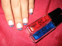 Nails by Asami: Fourth of July Nails  I like the simple stripes