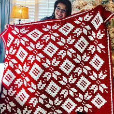 How to Crochet Corner to Corner Snowflake Blanket with Marly Bird.