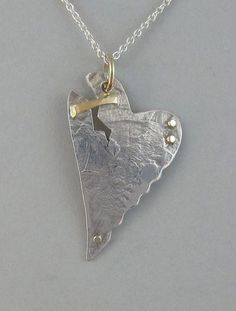 Sterling Patched Broken Heart Pendant  $250.00  #valentine #jewelry