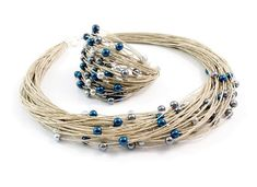 Promised myself to make something like that! Twine, beads, one evening, and beauty of finish. Textile Jewelry, Boho Jewelry, Jewelry Crafts, Beaded Jewelry, Jewelery, Jewelry Necklaces, Handmade Jewelry, Women Jewelry, Beaded Bracelets
