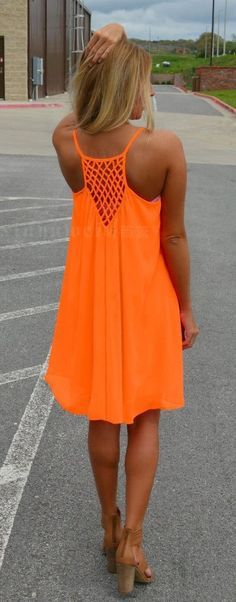 Nice Orange Spaghetti Strap Back Hollow Out Summer Chiffon Beach Short Dress…