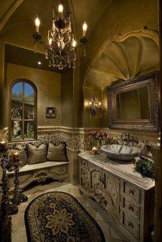 beautiful bath. ( Little nook/window seat in the bathroom )