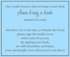 Encourage guests to bring books to your baby shower with this bright blue book insert.