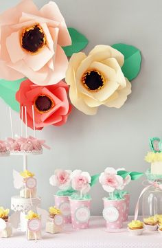 "A Sweet Spring Table by Icing Designs:  LOVE the huge paper flowers + ""potted"" paper flowers in polka dot cups"