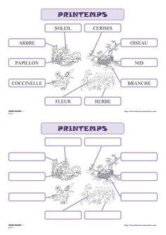 15 fiches pour la maternelle (PS, MS GS) pour découvrir, lire et écrire les mots du vocabulaire de printemps (arbre, fleur , oiseau , cerises, papillon , coccinelle , soleil , herbe , branche...)