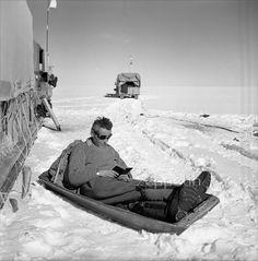 Paul-Émile Victor fait une pause lecture pendant l'expédition Groenland 1950, en route pour le centre de la calotte glaciaire, où elle va effectuer sa campagne d'été et remplacer l'équipe des hivernants (juin 1950).   Groenland. © EXPEDITIONS POLAIRES FRANCAISES / FONDS PAUL-EMILE VICTOR